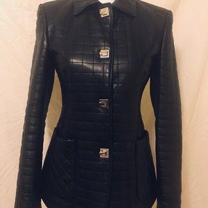 Adrienne Vittadini Black Leather Jacket size 2